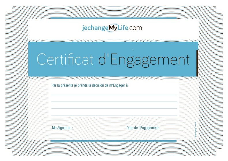 Certificat d'Engagement. jechangemylife.com