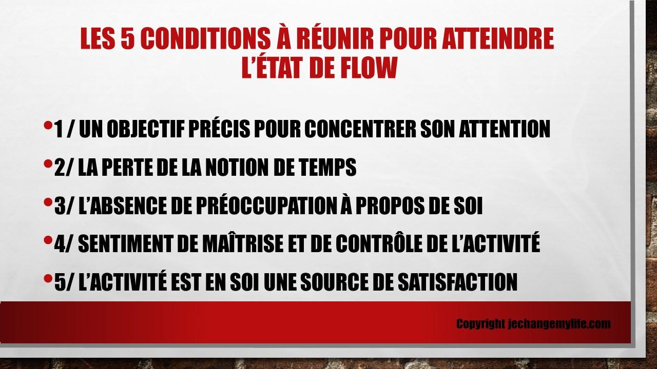 Les 5 critères pour identifier l'état de flow. jechangemylife.com